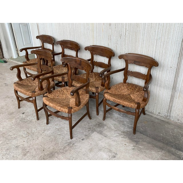 Mid 19th Century 19th Century Set of Six Armchairs With Straw Seat. Dining Room Chairs For Sale - Image 5 of 13