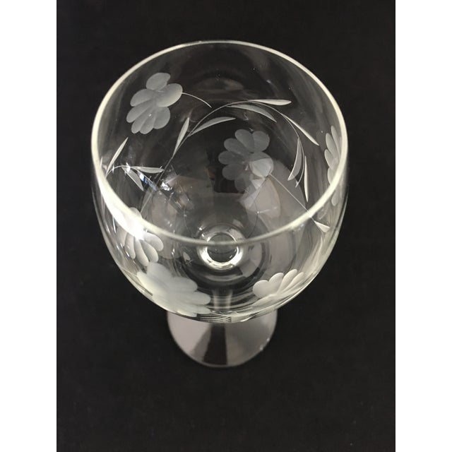 Traditional Vintage Etched Crystal Stemware - Set of 9 For Sale - Image 3 of 12