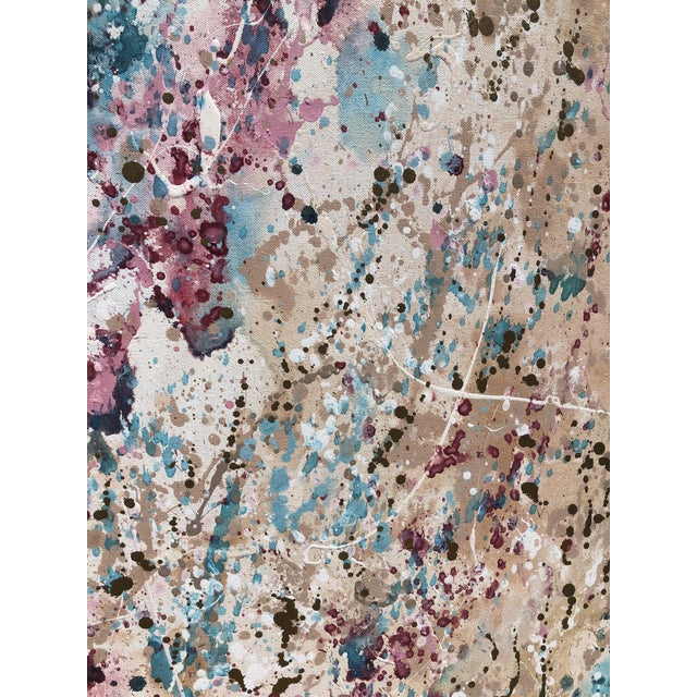 1980s Post Modern Abstract Expressionist Paint Splatter 3 Panel Canvas Painting Room Divider Screen For Sale In West Palm - Image 6 of 9