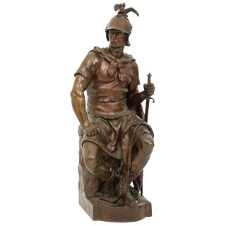 "Mid 19th Century Antique F. Barbedienne Bronze ""Le Courage Militaire"" Sculpture For Sale"