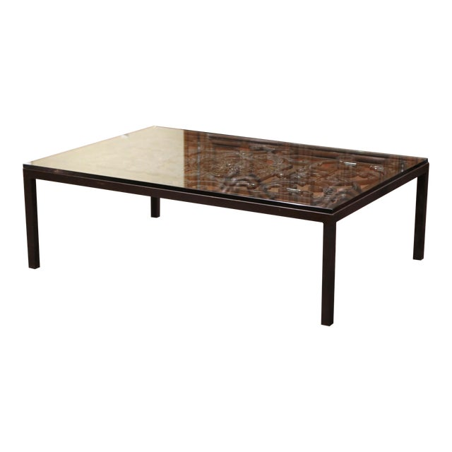 18th Century French Forged Iron Balcony Gate Coffee Table With Glass Top For Sale