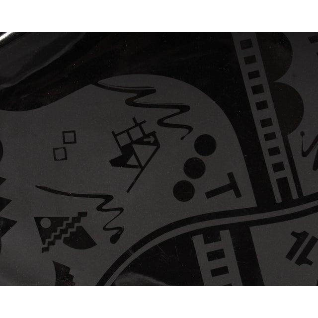 Postmodern Stephen Fabrico Signed Postmodern Black on Black Ceramic Tray For Sale - Image 3 of 8