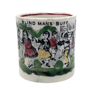 "Antique Staffordshire Pearlware ""Blind Man's Buff"" Child's Game Cup For Sale"