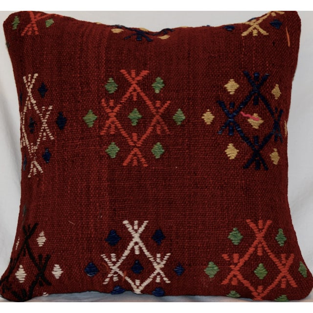 Vintage Handmade Wool Decorative Boho Pillow - Image 6 of 7