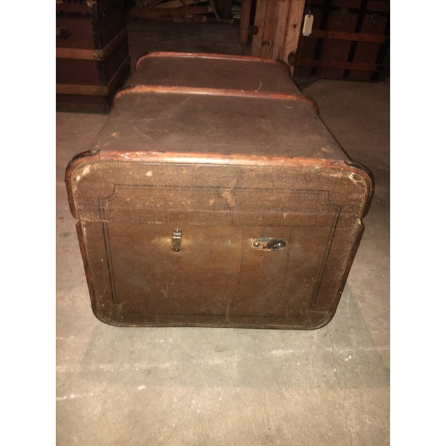 Antique Double Lock European Oak Banded Trunk - Image 4 of 11