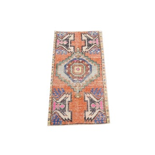 1970s Orange and Blue Hand Woven Turkish Yastik Rug 1'5x3'1 For Sale