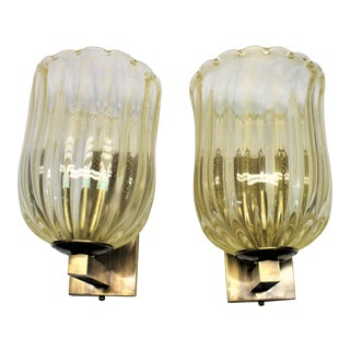 Murano Glass Gold Flakes Brass Mounts Sconces - a Pair For Sale