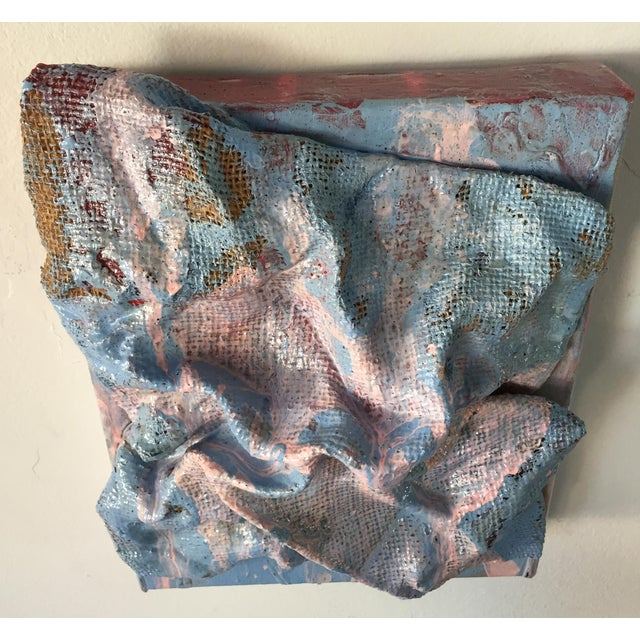"""""""Sky Blue Burlap Drips"""" Mixed Media Wall Sculpture by Chloe Hedden For Sale - Image 9 of 13"""