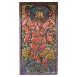 Vintage Indian Hand Carved Kundalini Ganesha Door Panel For Sale