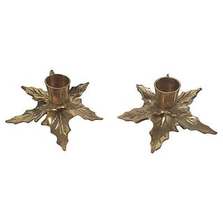 Brass Mistletoe Candleholders, Pair Preview