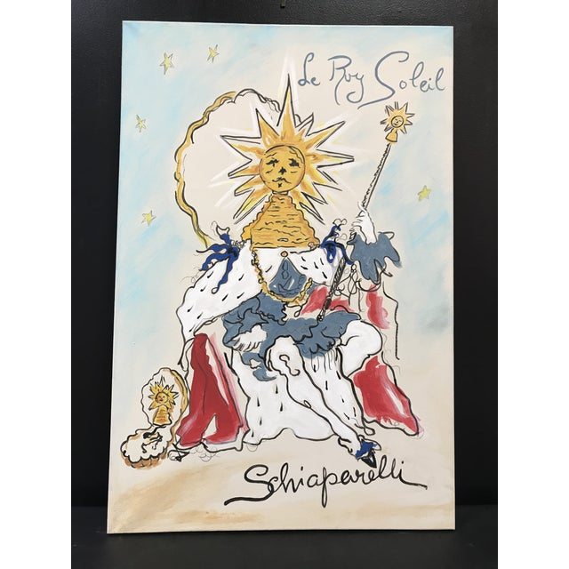 Canvas Schiaparelli Le Roy Soleil Advertising Perfume Redesigned Painting For Sale - Image 7 of 7