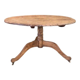 19th Century Swedish Primitive Pedestal Table For Sale