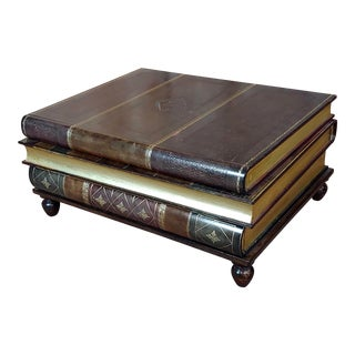 1960s Traditional Maitland-Smith Stacked Leather Books Form Coffee Table For Sale