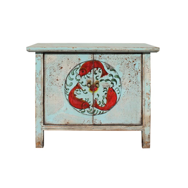 Chinese Distressed Light Pale Blue Fishes Graphic Table Cabinet For Sale