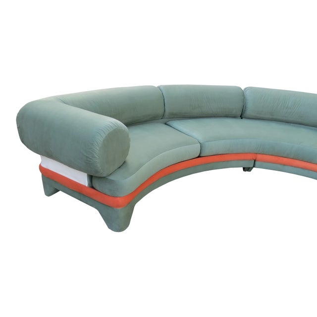 1970s Contemporary Circular Curved Ultrasuede Sectional Sofa For Sale - Image 9 of 12