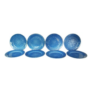 T L Mulino New York Rustic Azure Blue Melamine Dinner Plates - Set of 8 For Sale