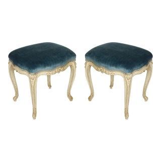 Pair of Louis XV Style Stools in Blue Strie Velvet For Sale