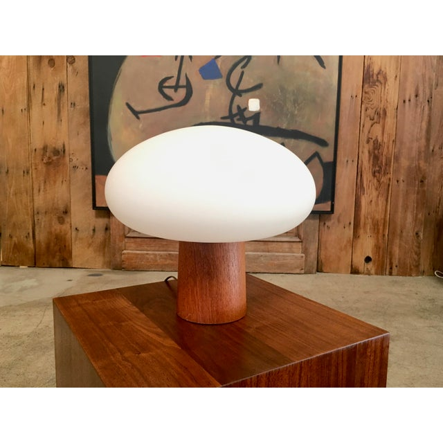 Mid-Century Modern Mushroom Lamp Frosted Glass With Teak Base For Sale In Los Angeles - Image 6 of 6