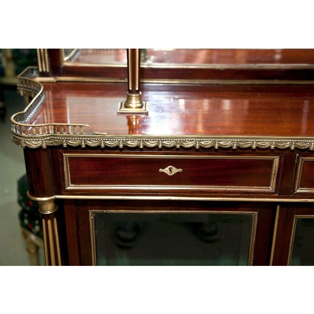 French Louis XIV Style Mahogany Server Cabinet Buffet Cupboard by Maisen Jansen - Image 6 of 8
