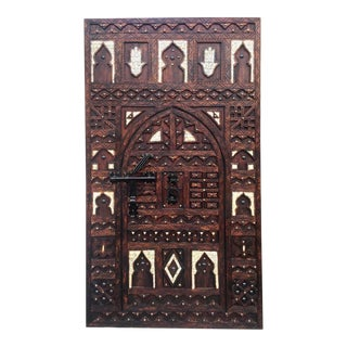 Vintage Moroccan Double Door - Hand Carved Cedar With Inlaid Bone, Wrought Iron Knocker For Sale