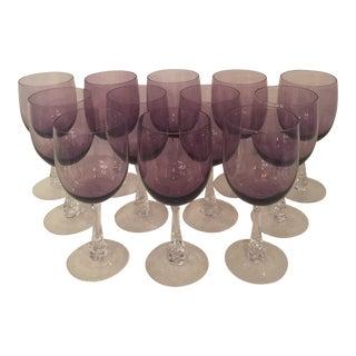 Vintage Amethyst Wine Glasses - Set of 12 For Sale