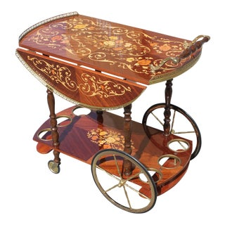 1950s French Marquetry Drop Leaf Bar Cart For Sale