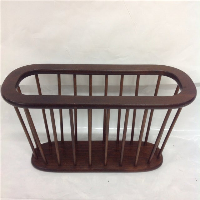 Arthur Umanoff Walnut Spindle Magazine Rack - Image 2 of 5