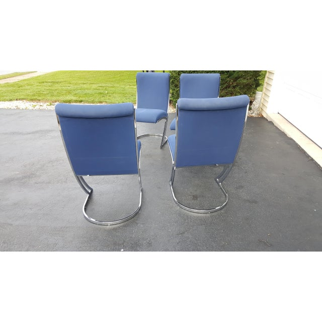 Mid-Century Pierre Cardin Z-Back Chrome Cantilever Dining Chairs - Set of 4 For Sale - Image 6 of 9