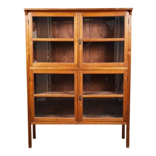 1920's Indonesian Teak 4-Door Glass Panel Cabinet For Sale