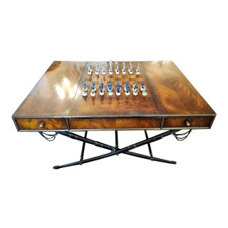Civil War Themed Mahogany Games Table With Sword Legs For Sale
