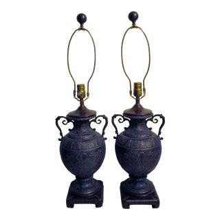 1980s Bronze Raised Relief Urn Style Double Handle Table Lamps - a Pair For Sale