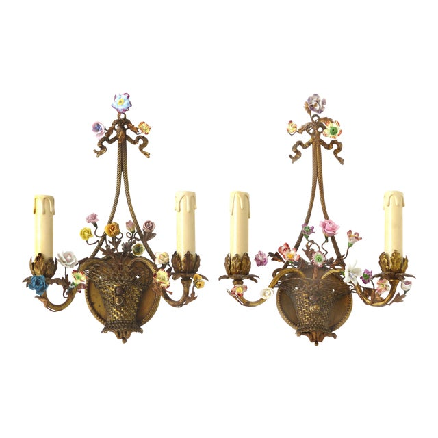 Antique French Bronze and Porcelain Floral Basket Sconces - a Pair - Image 1 of 10