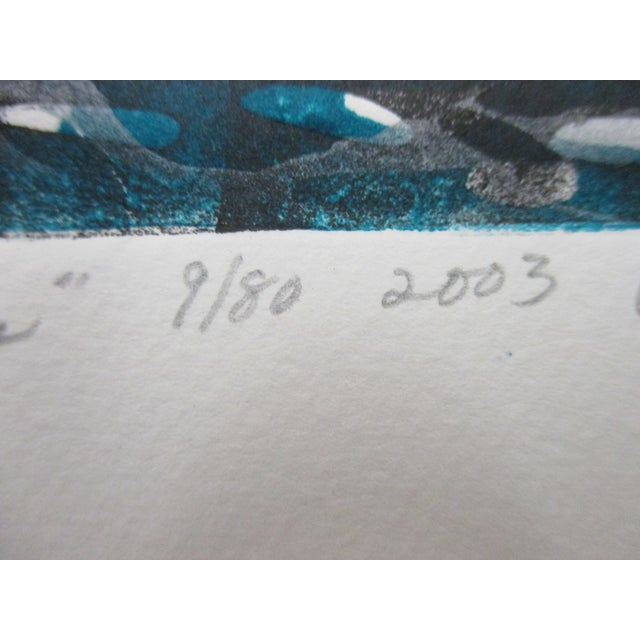 Modern Vintage Lithograph Titled: Galapagos Penguins Signed by the Artist: Ann Zahn For Sale - Image 3 of 6