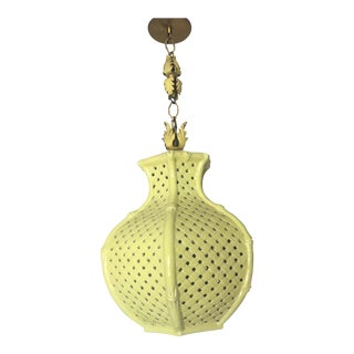 Mid-Century Chinoiserie Faux Bamboo Pierced Basketweave Pendant Lamp For Sale