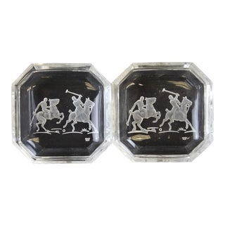 "Octagonal James II Baccarat Crystal ""Polo Player"" Ashtrays - A Pair For Sale"