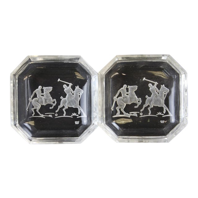 """Octagonal James II Baccarat Crystal """"Polo Player"""" Ashtrays - A Pair - Image 1 of 4"""