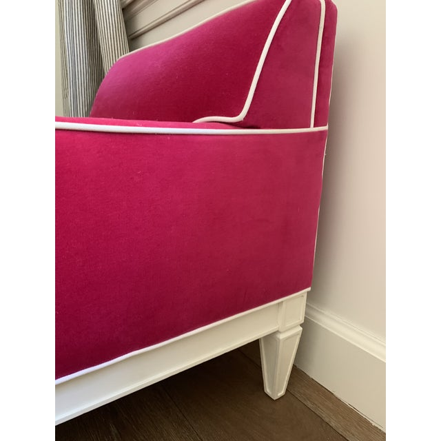 A customized Jonathan Adler Chair in a kid's size. It was perfect for my 8 and 10 year old. Bright Pink velvet fabric with...