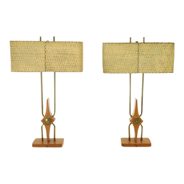 Pair of Walnut and Brass Diamond Pattern Table Lamps For Sale