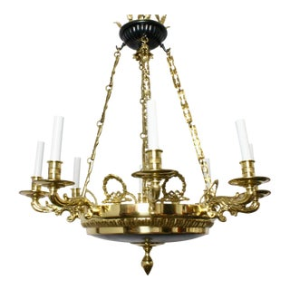 Vintage Antique French Neoclassical Empire Gold Brass Chandelier Napoleon III For Sale