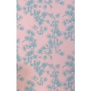 Mid-Century Modern Mitchell Black Fairy Forest Baby Pink Wallpaper Remnant For Sale
