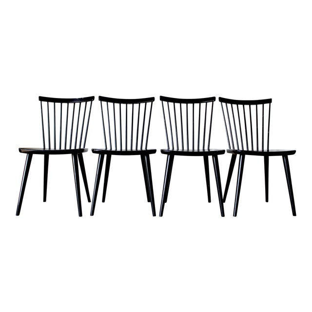 Swedish Mid Century Solid Wood Spindle Dining Chairs - Set of 4 For Sale