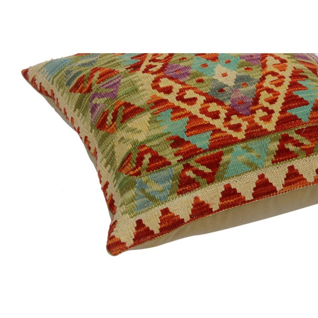 """Contemporary Chloe Ivory/Rust Hand-Woven Kilim Throw Pillow(18""""x18"""") For Sale - Image 3 of 6"""
