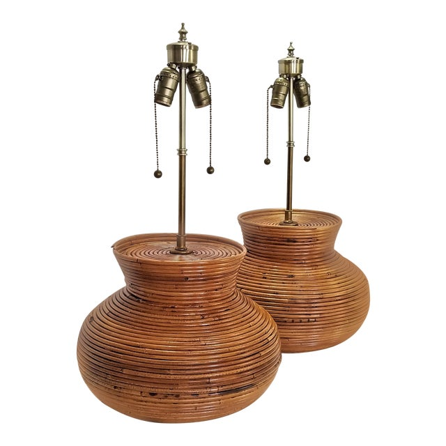 Gabriella Crespi Style Large Pencil Reed Table Lamps - a Pair - Restored - Mid Century Modern Palm Beach Boho Chic Wicker Rattan Seagrass For Sale