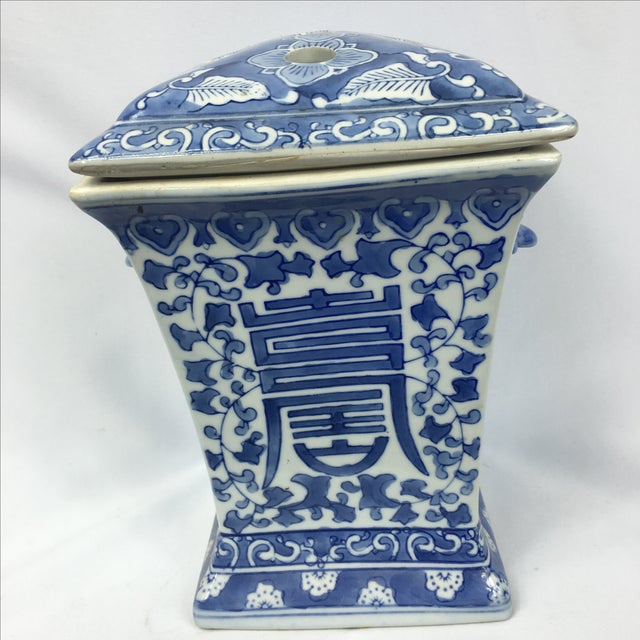 Blue & White Square Chinoiserie Floral Jar - Image 3 of 7