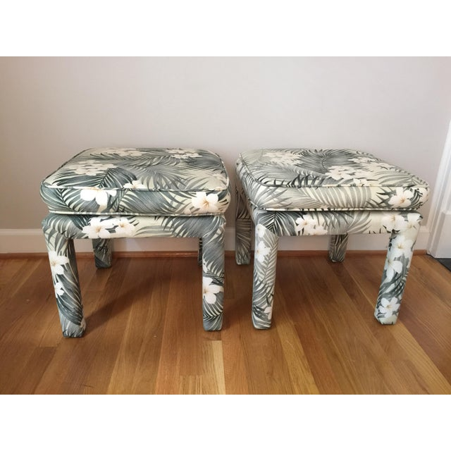 Pair of upholstered parsons style footstools or ottomans with really cool Regency/Hawaiian style palm leaf and floral...
