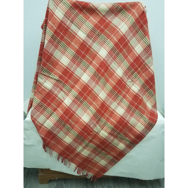 English Wool Throw Reds Black White Plaid - Made in England For Sale - Image 3 of 8
