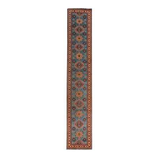 Tribal Caucasian Style Kazak Runner Rug For Sale