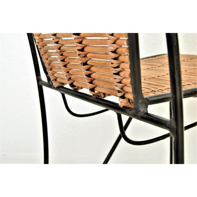 Ficks & Reed Mid-Century Organic Modern Bamboo & Rod Iron Chair Pencil Reed Rattan Albini Weinberg Style -- Tropical Boho Chic Mid Century Modern MCM For Sale - Image 9 of 11