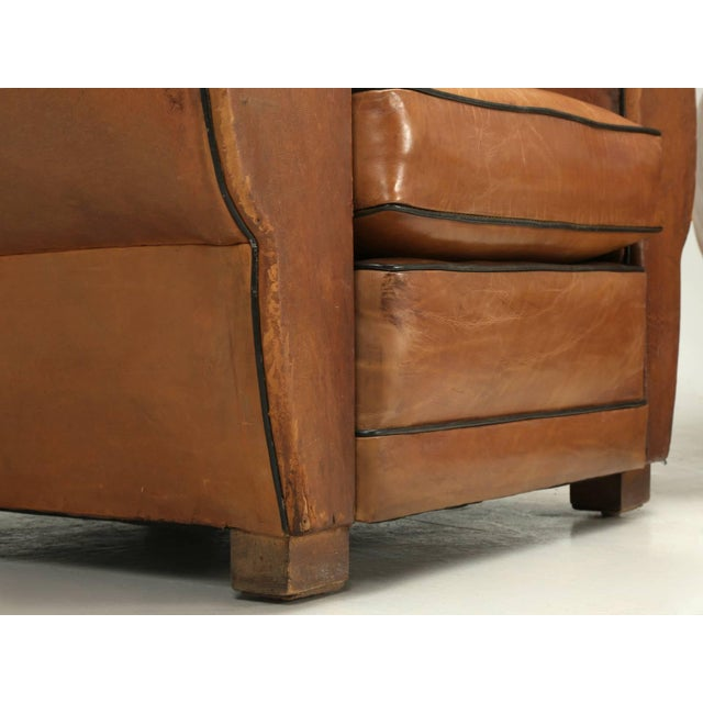 Tan French Fully Restored Club Chairs in Original Leather - a pair For Sale - Image 8 of 10