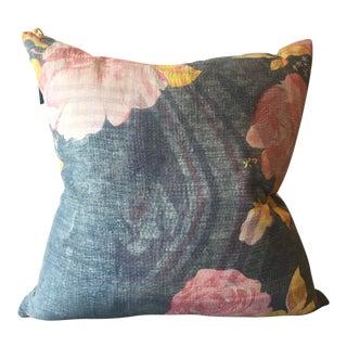 Vintage Blue/Gray Floral Pillow Cover